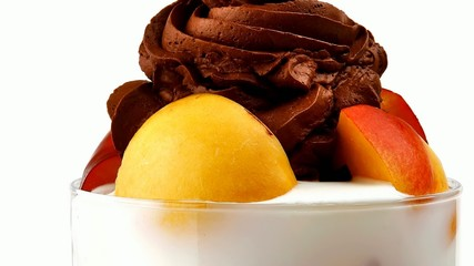 chocolate ice cream with fruits in crystal bowl 1920x1080 intro