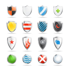 Colorful shields collection isolated on white