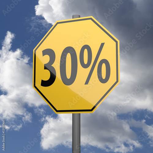 Road sign Yellow with text 30 percent