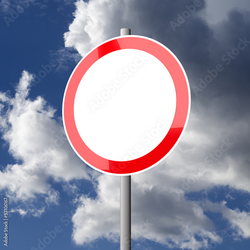 Road sign White Red Blank