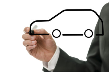 Detail of businessman drawing an abstract car