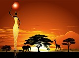 African Woman on Savannah Sunset-Donna Africata nel Tramonto