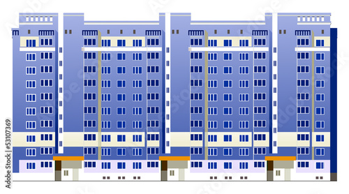 Beautiful multi-storey buildings illustrations