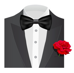 Bow tie with rose