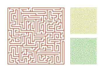 set of the 10 mazes isolated on white background