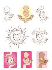 Baby protected by hands icons logo elements