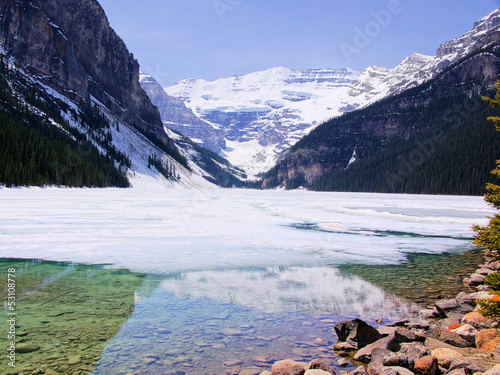View of the famous Lake Louise with snow in early spring
