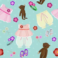 Seamless vector for a little girl with a teddy bear.
