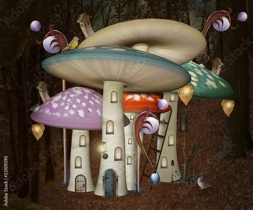 Mushrooms fantasy palace