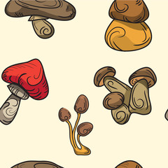 seamless pattern. mushrooms vector set