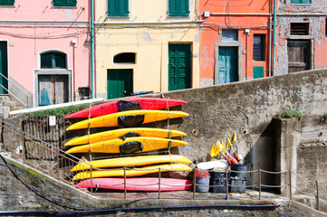 Boats on the streets of Manarola, Italy