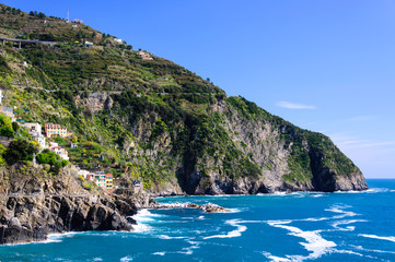 Rocky mountains on the seashore, Cinque Terre, Italy