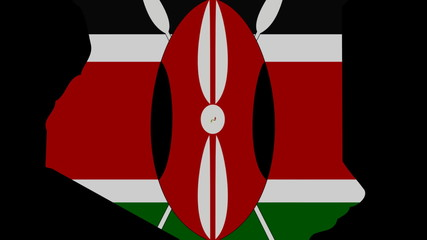 abstract people shaking hands on Kenya map flag animation
