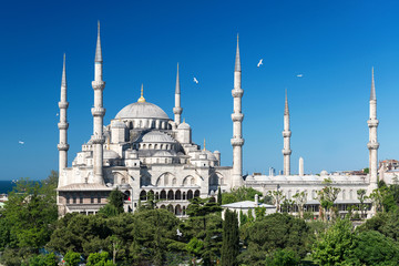 View of the Blue Mosque (Sultanahmet Camii) in Istanbul, Turkey