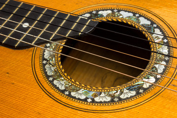 Old acoustic guitar detail