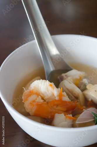 Tom Yum Goong in white bowl
