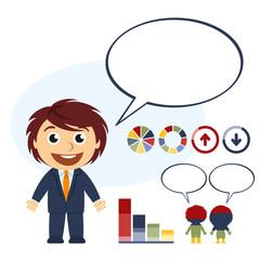 Hombre de negocios hablando y con elementos infográficos