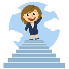 Mujer en la cima de una escalera
