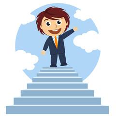 Hombre en la cima de una escalera