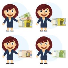 Mujer con traje y dinero en la mano