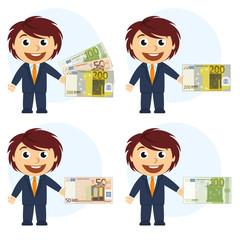 Hombre con traje y dinero en la mano