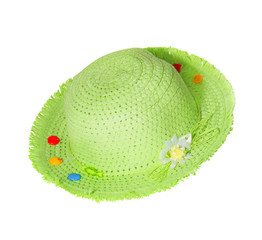 green straw Panama hat isolated on white
