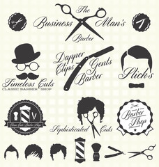 Vector Set: Retro Barber Shop Labels and Icons