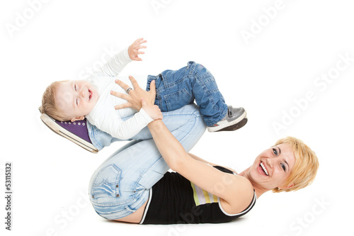 Beautiful happy mather with attractive baby boy on white. Portra