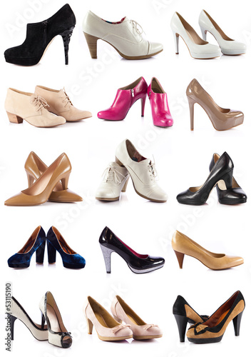 Collection  of  female shoes over white.  female footwear