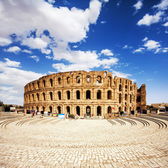Ruins of the largest colosseum in El Jem,Tunisia. UNESCO