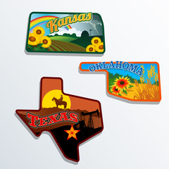Kansas, Oklahoma, Texas illustrated retro designs