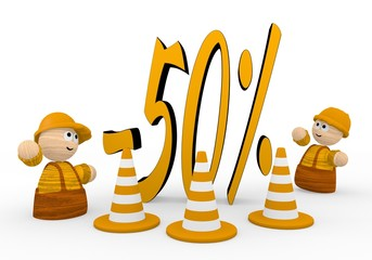 3d graphic of a cute discount icon  with two cute 3d characters