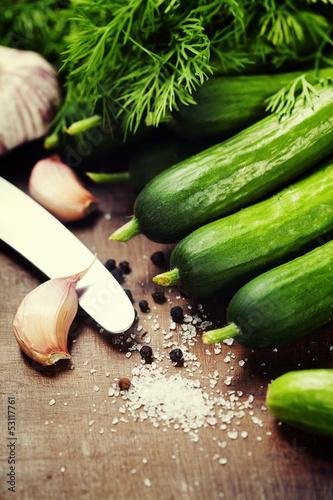 preparing preserves of pickled cucumbers