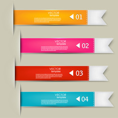 Set of bookmarks, stickers, labels, tags. Numbered banners. Vect