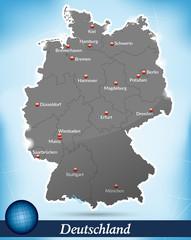 Deutschlandkarte mit Bundesländern und Hauptstädten