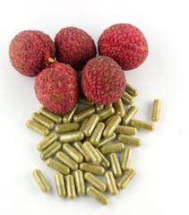 fruits capsules on white background