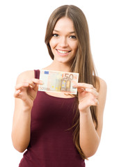 Portrait of young woman holding 50 Euro banknote