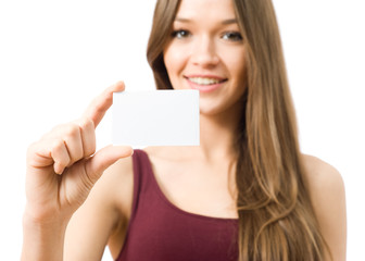 Young woman showing the business card