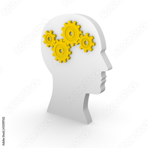 Human head silhouette with yellow gears