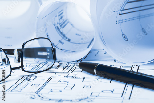 Architect plan and glasses
