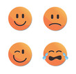 Orange smiley faces vector set #1