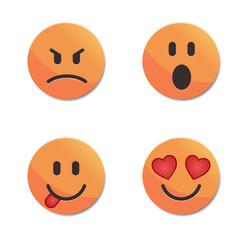 Orange smiley faces vector set #2