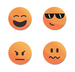 Orange smiley faces vector set #3