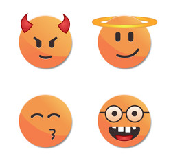 Orange smiley faces vector set #5