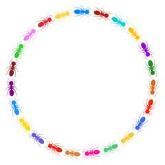 Moldura circular - formigas coloridas