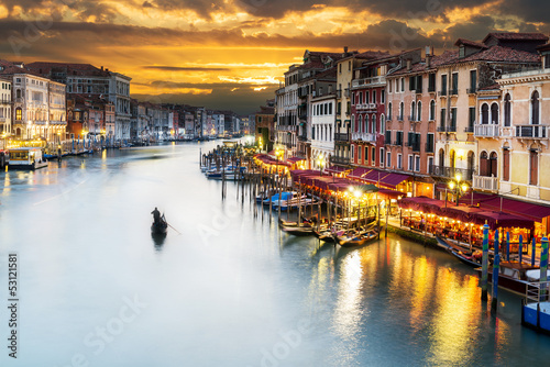 Fototapety, obrazy : Grand Canal at night, Venice