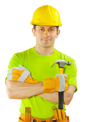 construction worker holding claw hammer