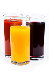 Fresh  juices isolated on white