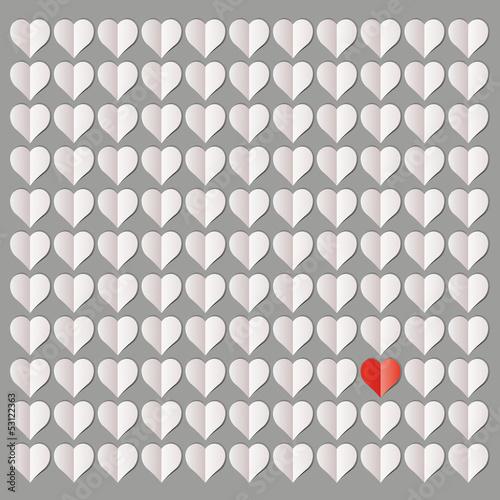 Rotes Herz im Mittelpunkt
