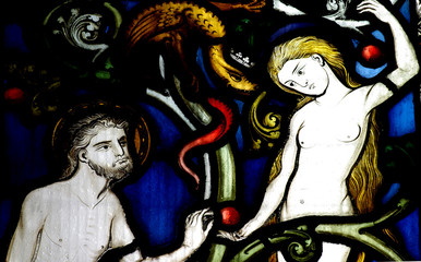 Adam, Eve , the snake and the apple